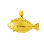 14kt gold sole fish pendant