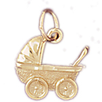 14kt gold baby stroller charm