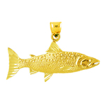 14k gold 38mm salmon charm pendant