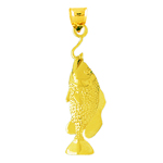 14k gold 3d bass on a fish hook charm pendant