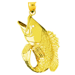 14k gold 35mm wide mouth bass charm pendant