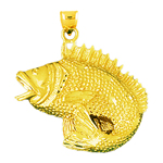 14k gold wide mouth bass charm pendant