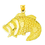 14k gold 33mm open mouth bass charm pendant