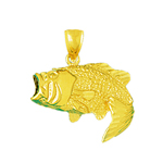 14k gold open mouth bass charm pendant