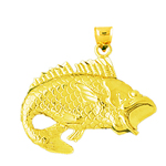 14k gold large bass charm pendant with open mouth