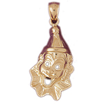 14k gold 25mm clown face charm pendant