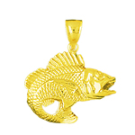 14k gold 3d bass with open mouth pendant