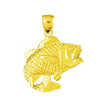 14k gold 3d bass charm pendant with mouth open