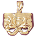 14k gold comedy drama masks pendant