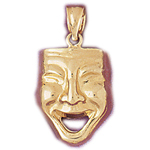 14k gold 18mm comedy drama mask charm