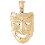 14k gold comedy drama mask charm pendant