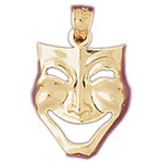 14k gold 17mm comedy drama mask charm