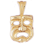 14k gold 15mm tragedy drama mask charm