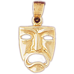 14k gold tragedy drama mask charm