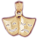 14k gold tragedy comedy drama masks charm