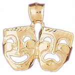 14k gold 24mm tragedy comedy drama masks pendant