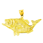 14k gold big mouth bass charm pendant