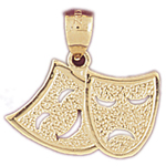 14k gold 20mm tragedy comedy drama masks charm