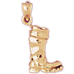14k gold 3d mens boot charm