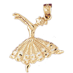 14k gold ballet dancer charm pendant