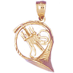 14k gold 3d french horn charm