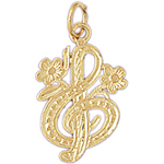 14k gold floral treble clef charm