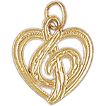 14k gold treble clef in heart charm