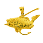 14k gold bass with fishing hook pendant