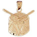 14k gold drum with drumsticks charm pendant