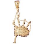 14k gold bagpipe charm pendant