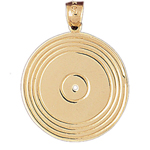 14k gold phonograph record charm pendant
