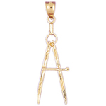 14k gold drawing compass charm pendant