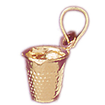 14k gold 3d sewing thimble charm