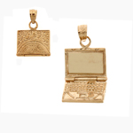 14k gold 3d laptop computer charm