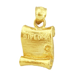 14k gold 3d graduation diploma scroll charm