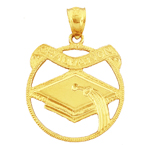 14k gold graduation banner medallion