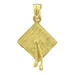 14k gold 3d graduation cap with tassel charm