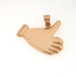 14k gold thumbs up charm pendant