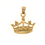 14k gold regal crown charm