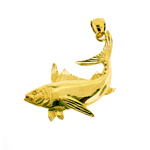 14k gold fish pendant