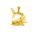 14k gold open mouth fish pendant
