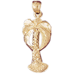 14k gold palm tree charm