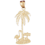 14k gold palm tree with flamingo pendant