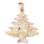 14k gold cedar tree of lebanon pendant