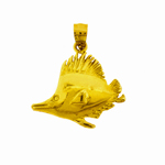 14k gold big fin fish pendant