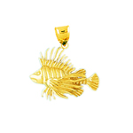 14k gold lionfish pendant