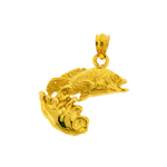 14k gold fish with splash of water charm