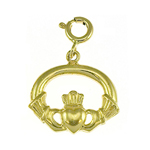14k gold 18mm claddagh charm pendant