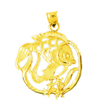 14k gold tropical fish and starfish medallion