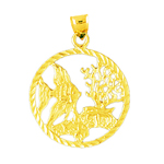 14k gold tropical fish seascape medallion